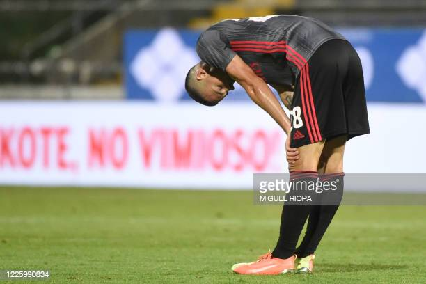 Benfica's German midfielder Julian Weigl reacts at the end of the Portuguese League football match between Famalicao and Benfica at the Famalicao...