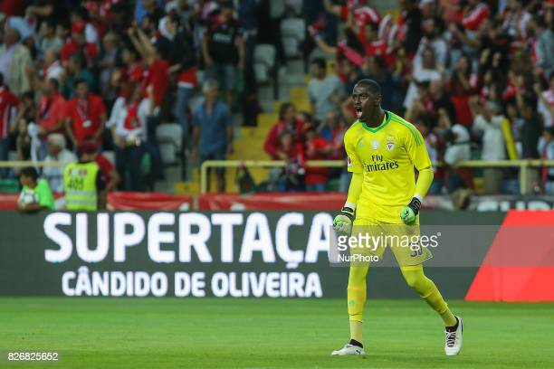 Benficas goalkeeper Bruno Varela from Portugal celebrating a goal scored by Benficas forward Jonas from Brazil during the Candido Oliveira Super Cup...