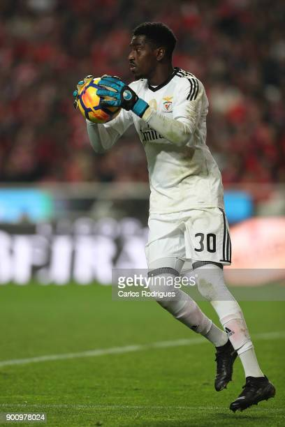 Benfica's goalkeeper Bruno Varela from Portugal during the match between SL Benfica and Sporting CP for the Portuguese Primeira Liga at Estadio da...