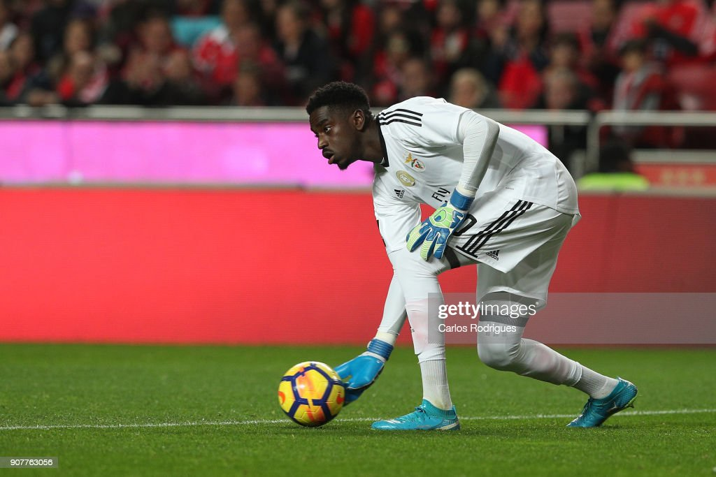 Benfica's goalkeeper Bruno Varela from Portugal during the match between SL Benfica and GD Chaves for the Portuguese Primeira Liga at Estadio da Luz on January 20, 2018 in Lisbon, Portugal.