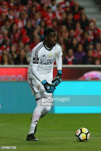 Benficas goalkeeper Bruno Varela from Portugal during the Premier League 2017/18 match between SL Benfica and FC Vitoria Setubal at Luz Stadium in...