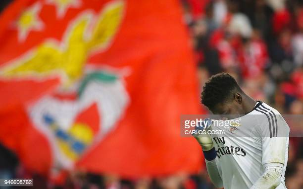 Benfica's goalkeeper Bruno Varela gestures at the end of the Portuguese league footbal match between SL Benfica and FC Porto at the Luz stadium in...