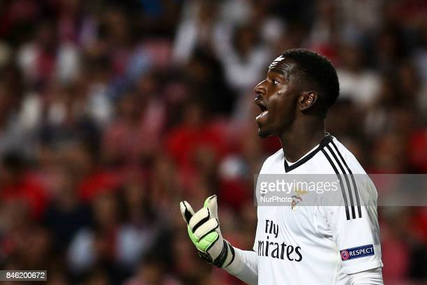 Benfica's goalkeeper Bruno Varela reacts during the Champions League football match between SL Benfica and CSKA Moskva at Luz Stadium in Lisbon on...