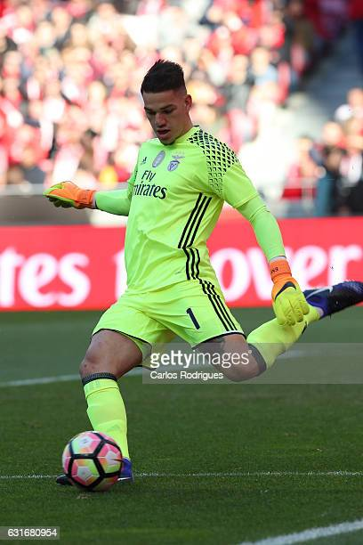 Benfica's goalkeeper Ederson from Brasil during the match between SL Benfica and Boavista FC for the Portuguese Primeira Liga at Estadio da Luz on...