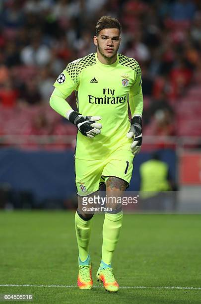 BenficaÕs goalkeeper from Brazil Ederson in action during the UEFA Champions League match between SL Benfica and Besiktas JK at Estadio da Luz on...