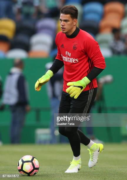 Benfica's goalkeeper from Brazil Ederson in action during warm up before the start of the Primeira Liga match between Sporting CP and SL Benfica at...