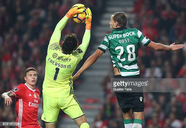 Benfica's goalkeeper from Brazil Ederson with Sporting CP's forward Bas Dost from Holland in action during the Primeira Liga match between SL Benfica...