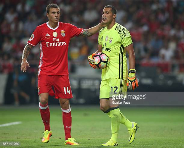 Benfica's goalkeeper from Brazil Julio Cesar with SL Benfica's defender from Sweden Victor Lindelof in action during the Super Cup match between SL...
