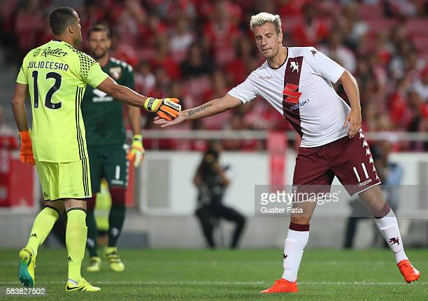 Benfica's goalkeeper from Brazil Julio Cesar with Torino's forward Maxi Lopez during the Eusebio Cup match between SL Benfica and Torino at Estadio...