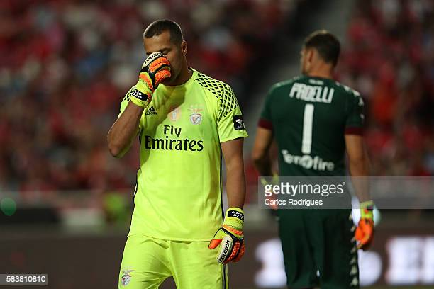 Benfica's goalkeeper Julio Cesar reacts during the match between SL Benfica and Torino for the Eusebio Cup at Estadio da Luz on July 27 2016 in...