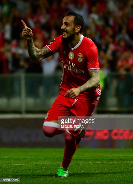Benfica's Greek forward Konstantinos Mitroglou celebrates after scoring a goal during the Portuguese league football match Moreirense vs SL Benfica...