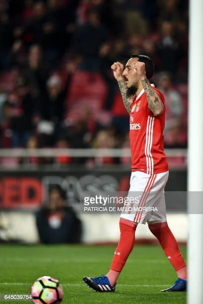Benfica's Greek forward Konstantinos Mitroglou celebrates after scoring during the Portuguese league football match SL Benfica vs GD Chaves at the...