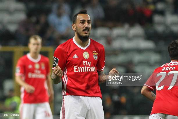 Benfica's Greek forward Kostas Mitroglou celebrates after scoring goal during the Premier League 2016/17 match between Boavista FC and SL Benfica at...