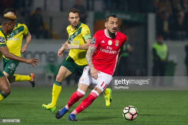 Benfica's Greek forward Kostas Mitroglou during the Premier League 2016/17 match between Pacos Ferreira and SL Benfica at Mata Real Stadium in Pacos...