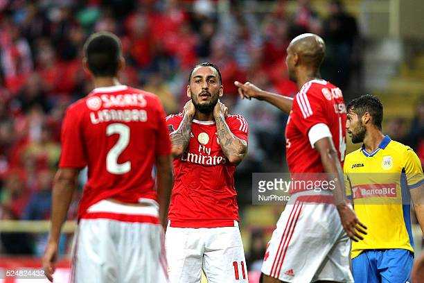Benfica's Greek forward Kostas Mitroglou reacts during the Premier League 2015/16 match between FC Arouca and SL Benfica at Municipal Aveiro Stadium...