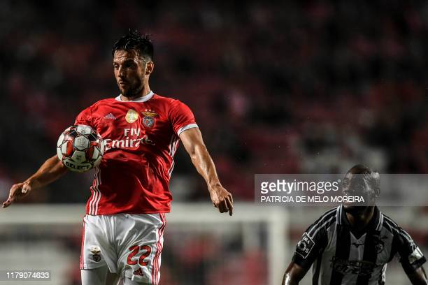 Benfica's Greek midfielder Andreas Samaris controls the ball during the Portuguese league football match between SL Benfica and Portimonense SC at...