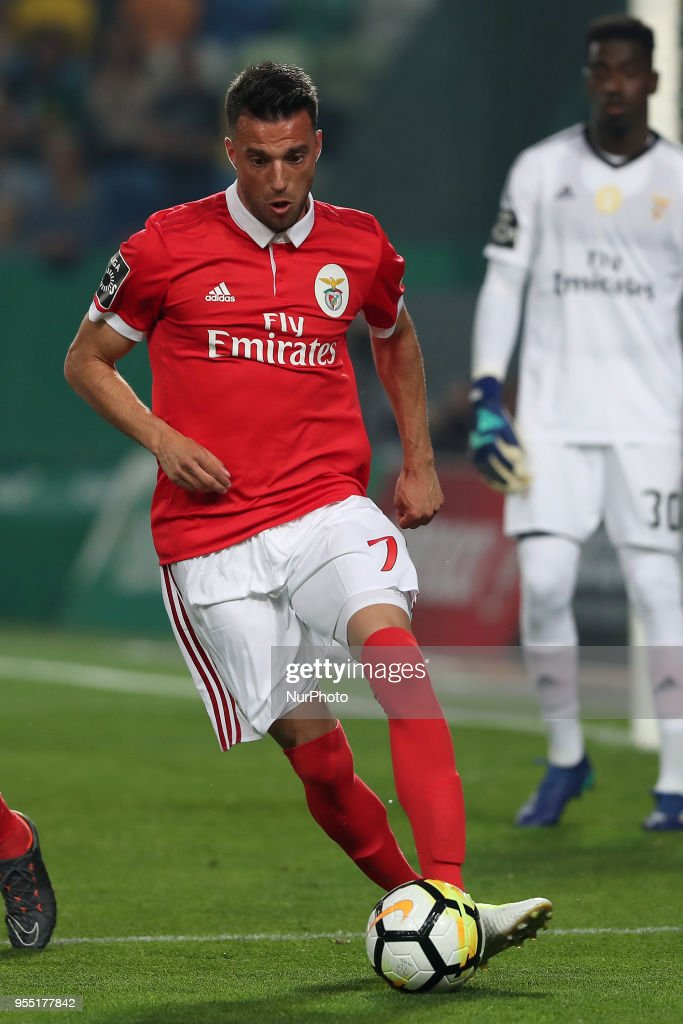 Benfica's Greek midfielder Andreas Samaris in action during the Primeira Liga football match Sporting CP vs SL Benfica at the Alvadade stadium in Lisbon, Portugal, on May 5, 2018.