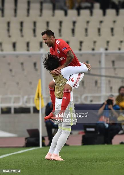 Benfica's Haris Seferovic celebrates after scoring a goal during the UEFA Champions League football match AEK Athens vs Benfica Lisbon at the Olympic...