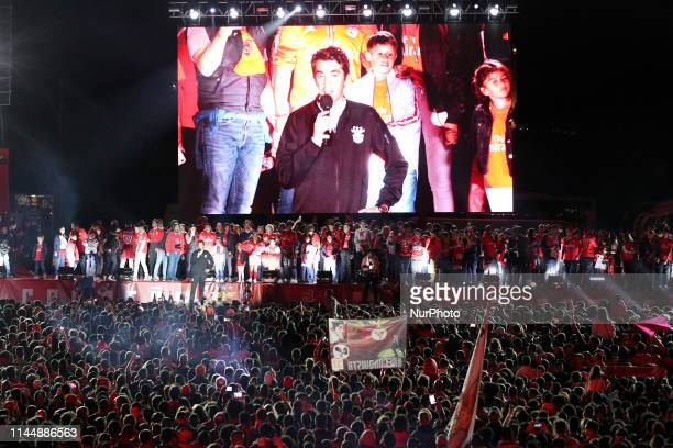Benfica's head coach Bruno Lage delivers a speech to thousands of fans as they celebrate the 37rd title in the Portuguese league Primeira Liga at the...