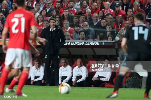 Benfica's head coach Bruno Lage during the UEFA Europa League Round of 16 2nd Leg football match SL Benfica vs Dinamo Zagreb at the Luz Stadium in...
