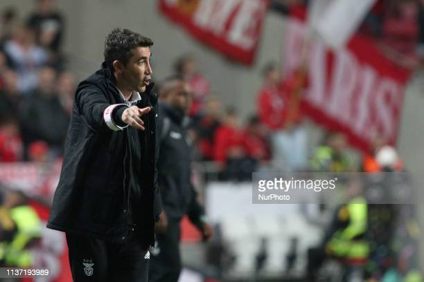 Benfica's head coach Bruno Lage gestures during the Portuguese League football match SL Benfica vs Vitoria Setubal at the Luz Stadium in Lisbon...