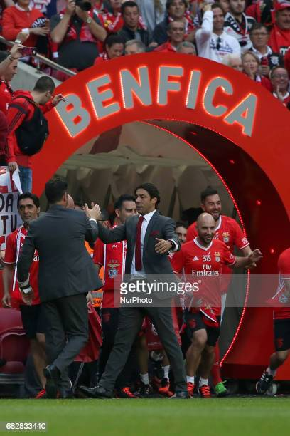 Benfica's head coach Rui Vitoria and Benfica's director Rui Costa celebrate the 36th Portuguese football league title after the Portuguese League...