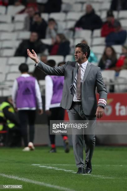 Benfica's head coach Rui Vitoria gestures during the Portuguese League football match SL Benfica vs Feirense at the Luz stadium in Lisbon, Portugal...