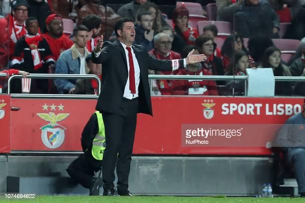 Benfica's head coach Rui Vitoria gestures during the Portuguese League football match SL Benfica vs SC Braga at the Luz stadium in Lisbon on December...