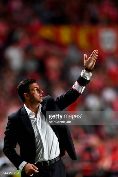 Benfica's head coach Rui Vitoria gestures from the sideline during the Portuguese league football match SL Benfica vs Portimonense SAD at the Luz...