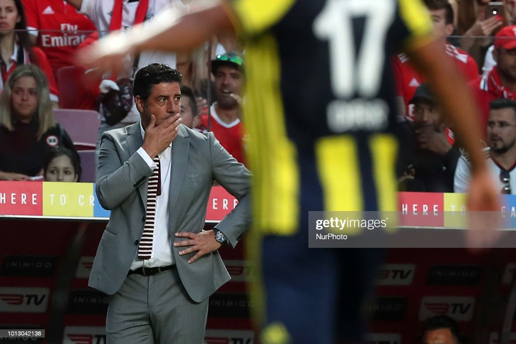 Benfica's head coach Rui Vitoria reacts during the UEFA Champions League 3rd Qualifying Round first leg match Benfica vs Fenerbahce at the Luz Stadium in Lisbon, Portugal on August 7, 2018.