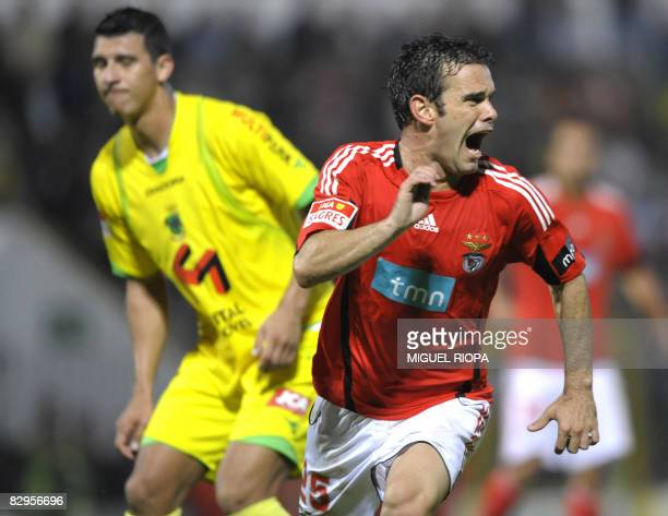 SL Benfica's Jorge Ribeiro celebrates after scoring against Pacos Ferreira during their Portuguese Super league football match at the Mata Stadium in...