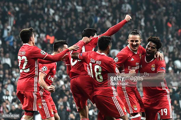 Benfica's Ljubomir Fejsa celebrates with his team mates after scoring a goal against Besiktas during the UEFA Champions League Group B football match...