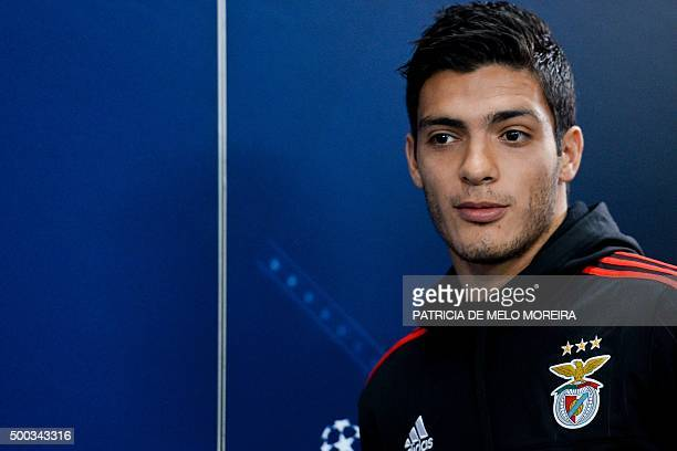 Benfica's Mexican forward Raul Jimenez arrives for a press conference at Luz stadium in Lisbon on December 7 2015 on the eve of the UEFA Champions...