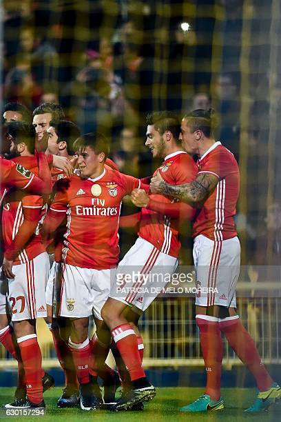 Benfica's Mexican forward Raul Jimenez celebrates a goal with teammates during the Portuguese league football match GD Estoril Praia vs SL Benfica at...