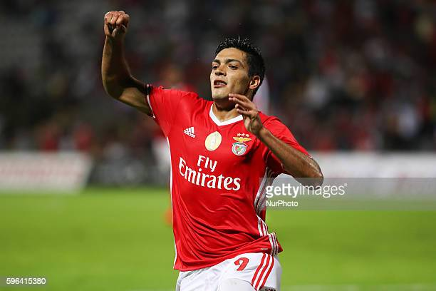 Benfica's Mexican forward Raul Jimenez celebrates after scoring a goal during Premier League 2016/17 match between CD Nacional and SL Benfica at...