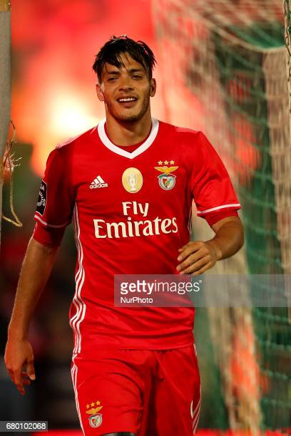 Benfica's Mexican forward Raul Jimenez celebrates after scoring a goal during the Premier League 2016/17 match between Rio Ave and SL Benfica at...