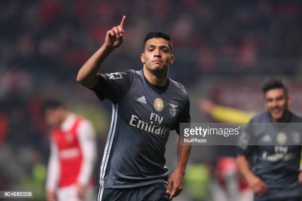 Benfica's Mexican forward Raul Jimenez celebrates after scoring a goal during the Premier League 2017/18 match between SC Braga and SL Benfica at...