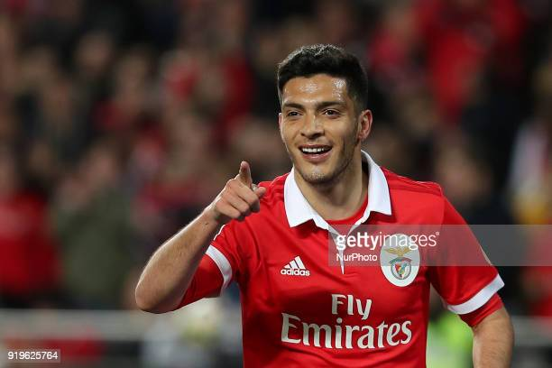 Benfica's Mexican forward Raul Jimenez celebrates after scoring a goal during the Portuguese League football match SL Benfica vs Boavista FC at the...