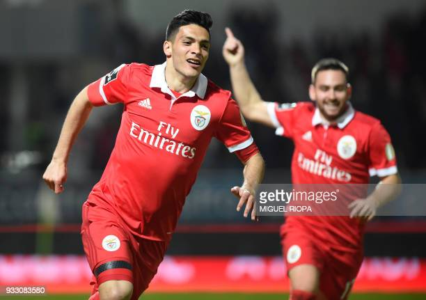 Benfica's Mexican forward Raul Jimenez celebrates after scoring a goal during the Portuguese League football match between CD Feirense and SL Benfica...