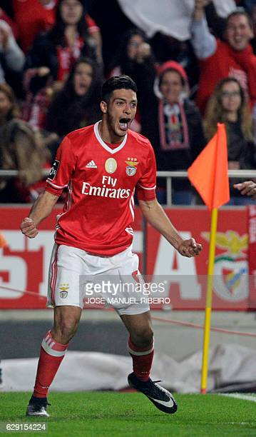 Benfica's Mexican forward Raul Jimenez celebrates his goal during the Portuguese league football match SL Benfica vs Sporting CP at the Luz stadium...
