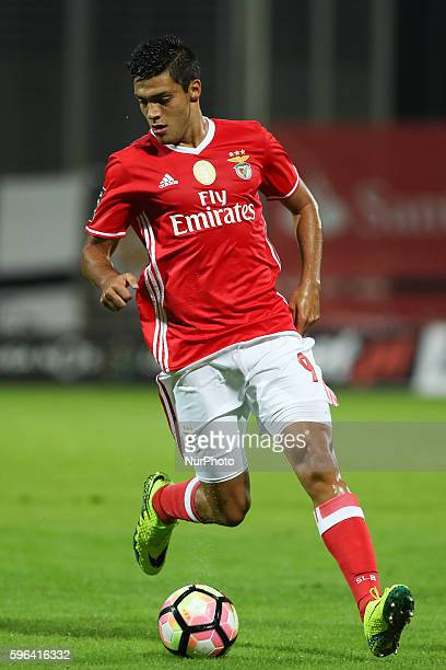 Benfica's Mexican forward Raul Jimenez in action during Premier League 2016/17 match between CD Nacional and SL Benfica at Choupana Stadium in...