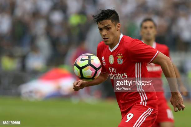 Benfica's Mexican forward Raul Jimenez in action during the Portugal Cup Final football match SL Benfica vs Vitoria Guimaraes SC at Jamor stadium in...