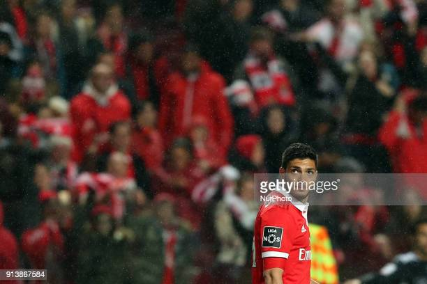 Benfica's Mexican forward Raul Jimenez looks on after scoring during the Portuguese League football match SL Benfica vs Rio Ave FC at the Luz stadium...