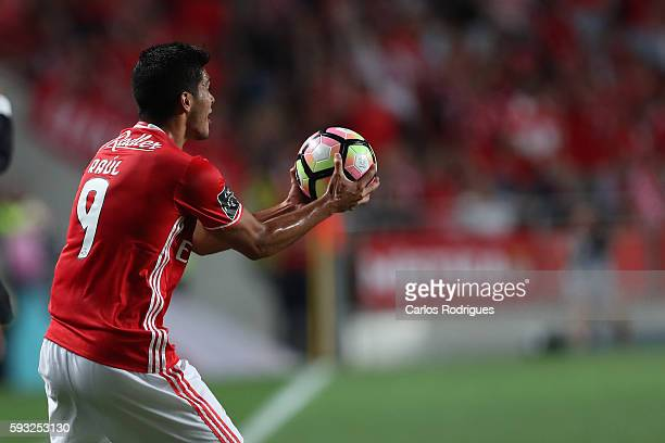 Benfica's Mexican forward Raul Jimenez reacts during the match between SL Benfica and Vitoria Setubal FC for the Portuguese Primeira Liga at Estadio...
