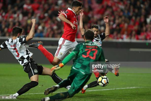 Benfica's Mexican forward Raul Jimenez shoots to score during the Portuguese League football match SL Benfica vs Boavista FC at the Luz stadium in...