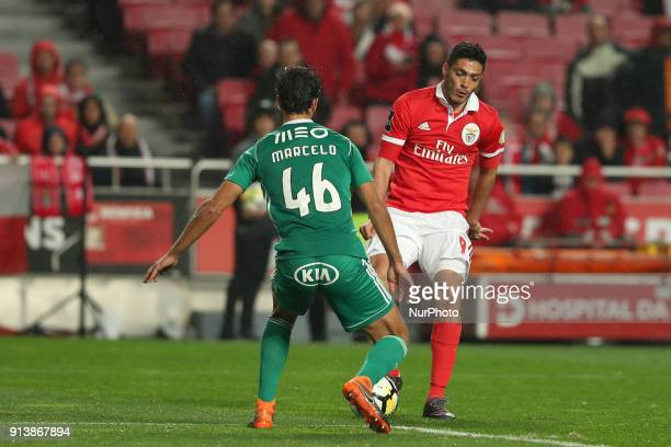 Benfica's Mexican forward Raul Jimenez vies with Rio Ave's defender Marcelo during the Portuguese League football match SL Benfica vs Rio Ave FC at...