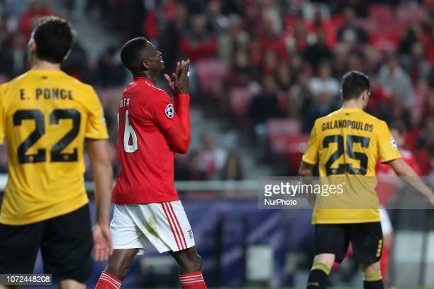 Benfica's midfielder Alfa Semedo of Guinea Bissau reacts during the UEFA Champions League Group E football match SL Benfica vs AEK Athens FC at the...
