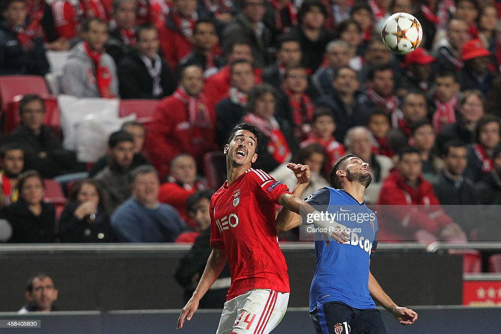 Benfica's midfielder Andre Almeida and Monaco's forward Yannick Ferreira-Carrasco during the UEFA Champions League match between SL Benfica and AS Monaco at the Estadio da Luz on November 4, 2014 in Lisbon, Portugal.