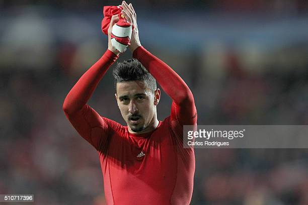 Benfica's midfielder Andre Almeida thanking the supporters during the match between SL Benfica and FC Zenit for the UEFA Champions League Round of 16...
