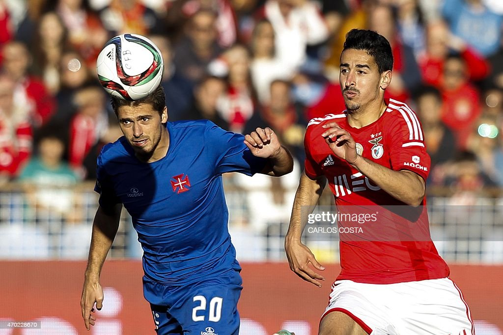Benfica's midfielder Andre Almeida (R) vies with Belenenses's midfielder Filipe Ferreira (L) during the Portuguese league football match CF Os Belenenses v SL Benfica at the Restelo stadium in Lisbon on April 18, 2015.